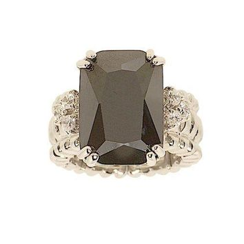 Large Jet Black Emerald Cut Cubic Zirconia Stretch Cocktail Ring