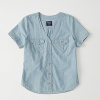 Womens Chambray Baseball Shirt | Womens New Arrivals | Abercrombie.com