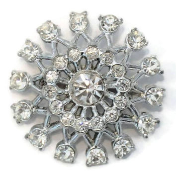 Atomic Starburst Brooch Pin, Clear Rhinestones, In Silver Tone