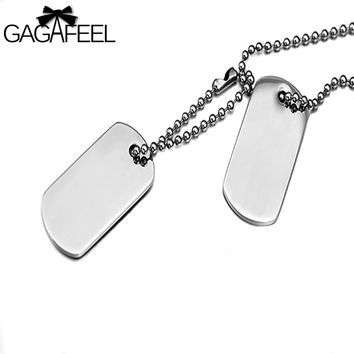 GAGAFFEL Laser Engraving Customized Logo Stainless Steel Dog Tag Army Military Card  Pendant Necklaces Silver Color Love Jewelry