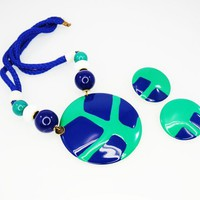 Retro Chunky Necklace Pendant & Earrings Set, Green and Royal Blue Enamel and Beads, Blue Cord and Disc Design, Vintage 1980's Jewelry