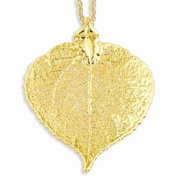 24K Gold Dipped Aspen Leaf Gold-Plated Chain