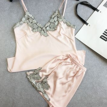 Lace embroidery silk satin shorts and suspenders pajamas tracksuit suit Ms Pink
