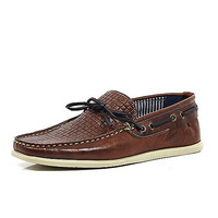 River Island MensBrown woven leather driving shoes