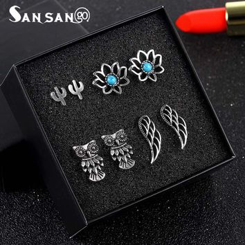 4pairs/set Fashion Antique Silver Bohemian Owl Wings Flower Cactus Hollow Lotus Alloy Stud Earrings For Women Girl Jewelry Gift