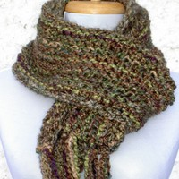 Hand Knit Scarf in Grassland by QuietStorytellers on Etsy