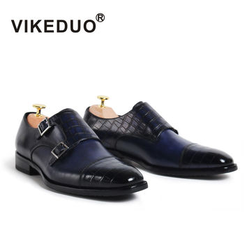 VIKEDUO Brand 2017Fashion Vintage Retro Handmade Mens Monk Shoes Luxury Party Wedding Hand Painted Footwear Shoe Genuine Leather