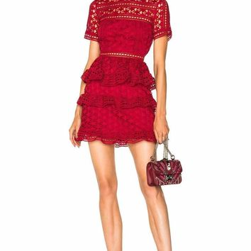 Red Star Lace Ruffled Mini Dress