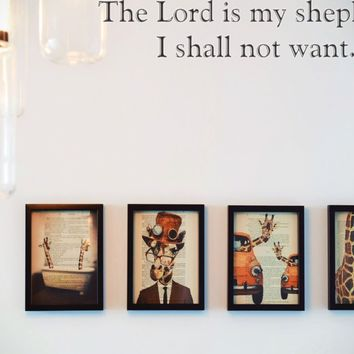 The Lord is my shepherd, I shall not want. Style 30 Vinyl Decal Sticker Removable
