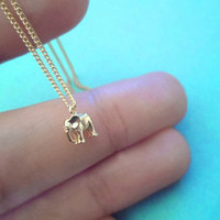 Tiniest Cute, Baby Elephant, Gold Plated, Necklace