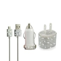 Bling Rhinestone Glitter Micro USB Samsung Motorola HTC Android Blackberry Droid Nexus Travel Charger Set (White)