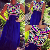 Blue Geometric Print Sleeveless Maxi Dress