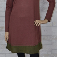Knit Swing Babydoll Dress - Easel - Red Brown/Olive