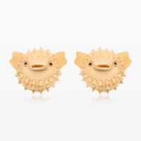A Pair of Adorable Blowfish Handcarved Earring Stud