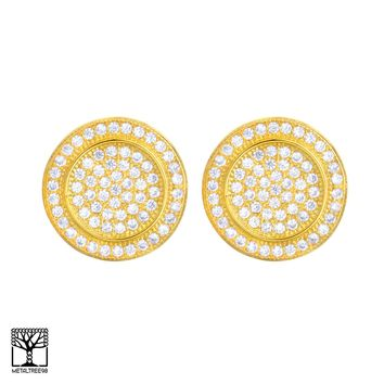Jewelry Kay style Men's Fashion Iced CZ 14K Gold Plated 3D Round Screw Back Stud Earrings BE 025 G
