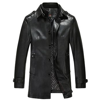 Spring Autumn Stand Collar Long Leather Coat Men Excellent Imitate Sheepskin Leather