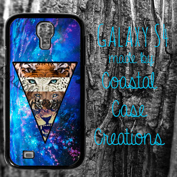 Blue Galaxy Space Lion and Tiger Samsung Galaxy S4 2 Piece Durable Cell Phone Case Cover Original Design