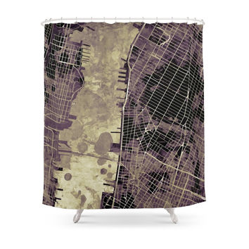 Society6 New York City Map Ink Shower Curtains