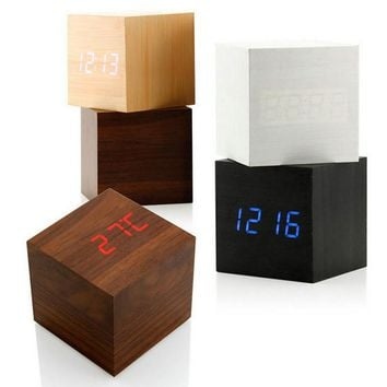 Elegant Voice Control Wood Cube LED Alarm Digital Desk Clock Thermometer Artwork