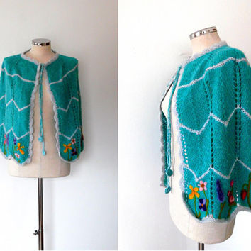Knitted chevron poncho, aqua green, colourful, needle felt, flower, fruit, OOAK, vintage, 1970s, boho, knitted, cape, shrug, wool poncho