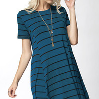 Teal Stripe Swing Dress