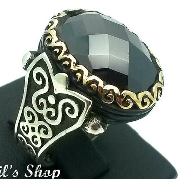 Men's Ring, Turkish Ottoman Style Jewelry, 925 Sterling Silver, Gift, Traditional Handmade With Black Onyx Stone, US Size 9.25, New