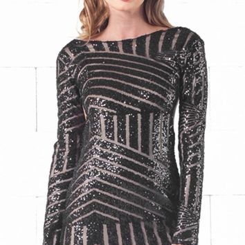 Indie XO Backstage Beauty Black Shiny Sequin Glittery V-Back Round Neck Long Sleeve Open Back Bodycon Fitted Mini Dress - Back in Stock