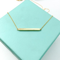 Gold Bar Necklace, Dipped Gold Minimalist Gold Bar Pendant, Simple Everyday Wear, Birthday, Bridesmaid and Wedding Jewelry