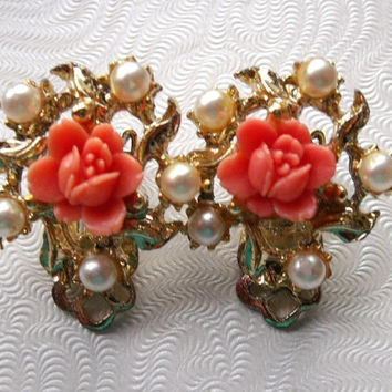 Vintage Salmon Pink Coral Color Carved Celluloid Rose Faux Pearl Clip Earrings Estate