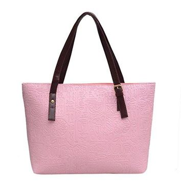 Hemlock Women Big Shoulder Bag Shopping Tote Handbag (Pink)
