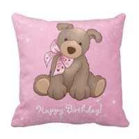Happy Birthday chubby pretty teddy bear pink