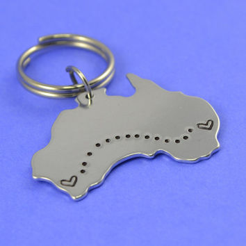 Australia Keychain - Best Friend Gift - Couples Gift - Long Distance Love