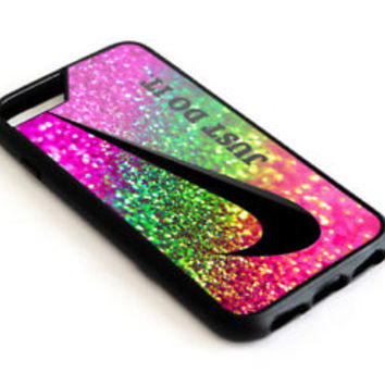 Best_Nike Just Do.It Rainbow Glitter iPhone 8 and 8 Plus Hard Plastic Case