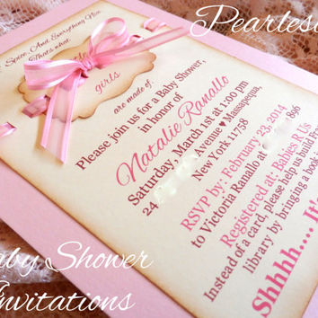 CUSTOM Sugar & Spice, And Everything Nice. Thats what little girls are made of - Pearlescent Baby Shower Invitations and Envelopes