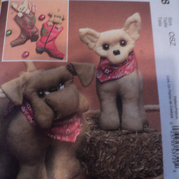 Sewing Pattern McCalls Stuffed Animal Bulldog Chihuahua Dog Dolls Pattern 5548
