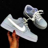 NIKE Air Force Fashionable Women Men Running Sport Reflective Hook Shoes Sneakers White