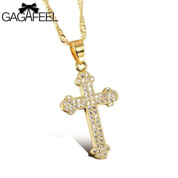 Fashion AAA Zircon Crystal Gold Color Jewelry Stainless Steel Men Cross Pendant Necklace Gold Bless Lucky Gift N630