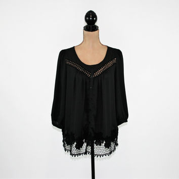 Sheer Black Chiffon Blouse Button Up Shirt Women Peasant Top Boho Clothing Crop Sleeve Loose Fitting Romantic Cutwork Lace Womens Clothing