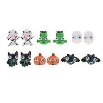 Claire's Halloween Googly Eye Glitter Stud Earrings Set of 6 New in Package