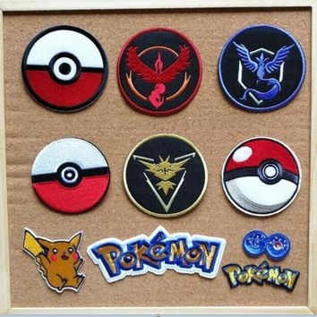 pikachu game iron on patches cartoon animal for cloth biker vest embroidery appliques accessoriy Kawaii Pokemon go  AT_89_9
