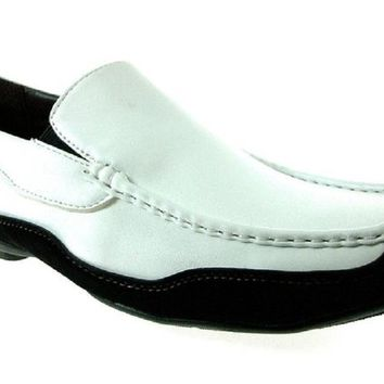 Mens Rocus Two Tone Slip On Moccasin Loafers Shoes CAS-901 White