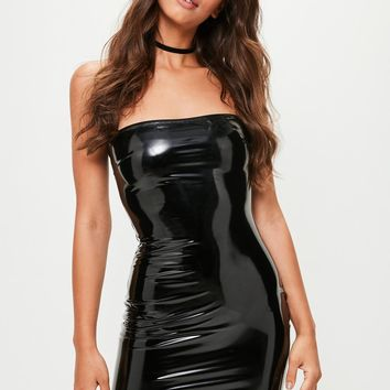 Missguided - Black Vinyl Bodycon Dress