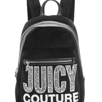Black Glam Goddess Velour Backpack by Juicy Couture, O/S