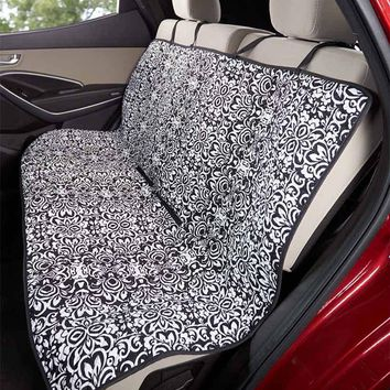 Pet Car Seat Cover Quilted Dog Damask Print Water Resist Protect Back Double