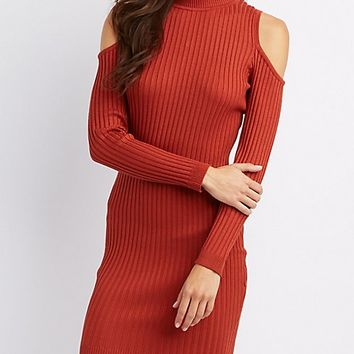 Ribbed Mock Neck Cold Shoulder Dress | Charlotte Russe