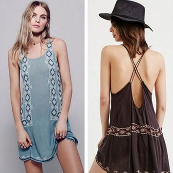 LMFON Free People' Fashion Retro Geometric Embroidery Backless Bandage Sleeveless Mini Dress