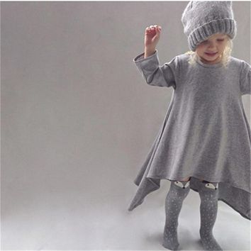 Baby Girl Long Sleeve Cotton Dress Kids Dresses For Girls Party Smocks 2 3 4 5 6 7 Years Children Clothing Casual Wear Outfits
