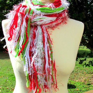 Fringe scarf, Christmas scarf, scarf gift, Knotted Scarf, Womens Scarves, holiday scarves, red white scarf, Christmas clothing, womens gifts