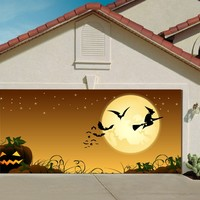 Garage Door Halloween Decorations Cover Decor Bats Pumpkin Night Sky Moon Stars Witch Bat Billboard Outside Decoration for Garage Door Halloween