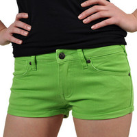 Bleeding Heart Lime Green hot pants – womens shorts – emo hot pants UK
